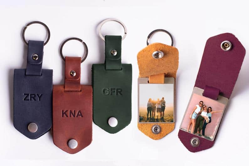 personalized gifts for valentines day: leather keychain with photo