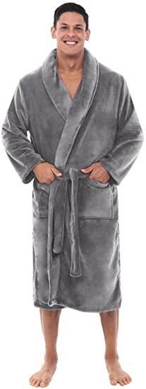 gift ideas for men: mens fleece bathrobe