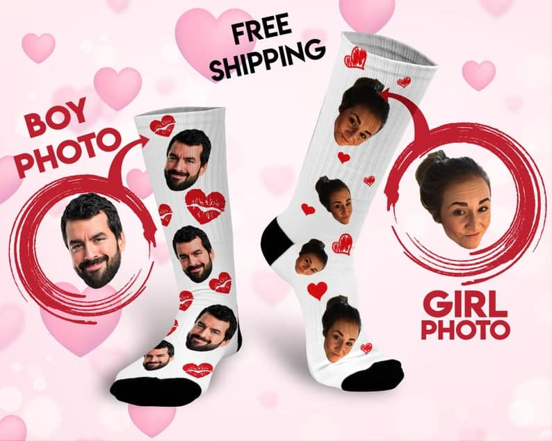 valentines gifts for him: custom face socks