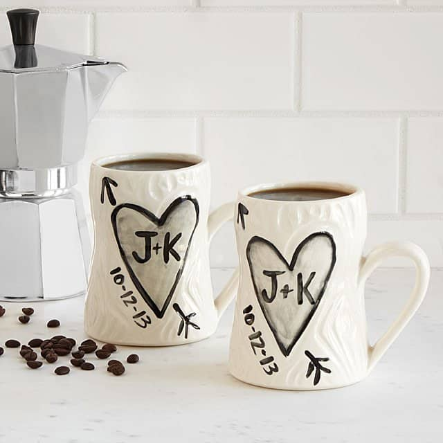 personalized gifts for valentines day: personalized faux bois mug set