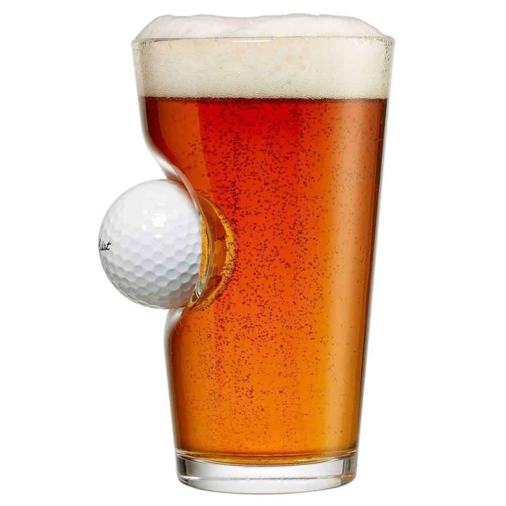 cool beer gift: pint glass with golf ball