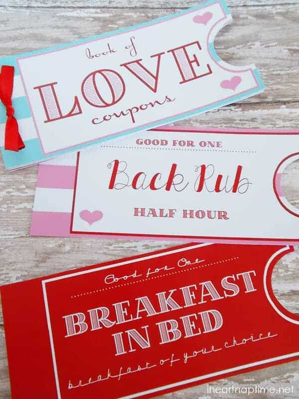 diy valentine for him: printable love coupons