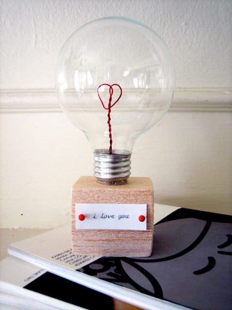 diy valentine's gifts for him: valentine's light bulb