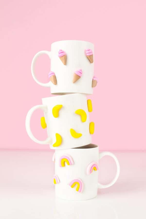 cute homemade gifts: 3d graphic clay mugs