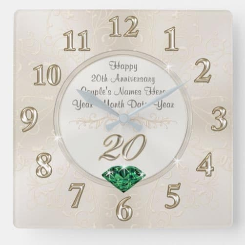 Lovely-Personalized-20th-Anniversary Clock