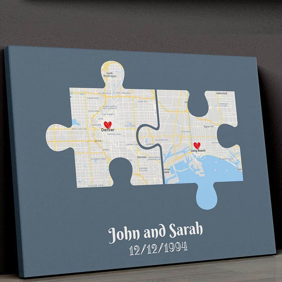 Couple Puzzle Map Canvas