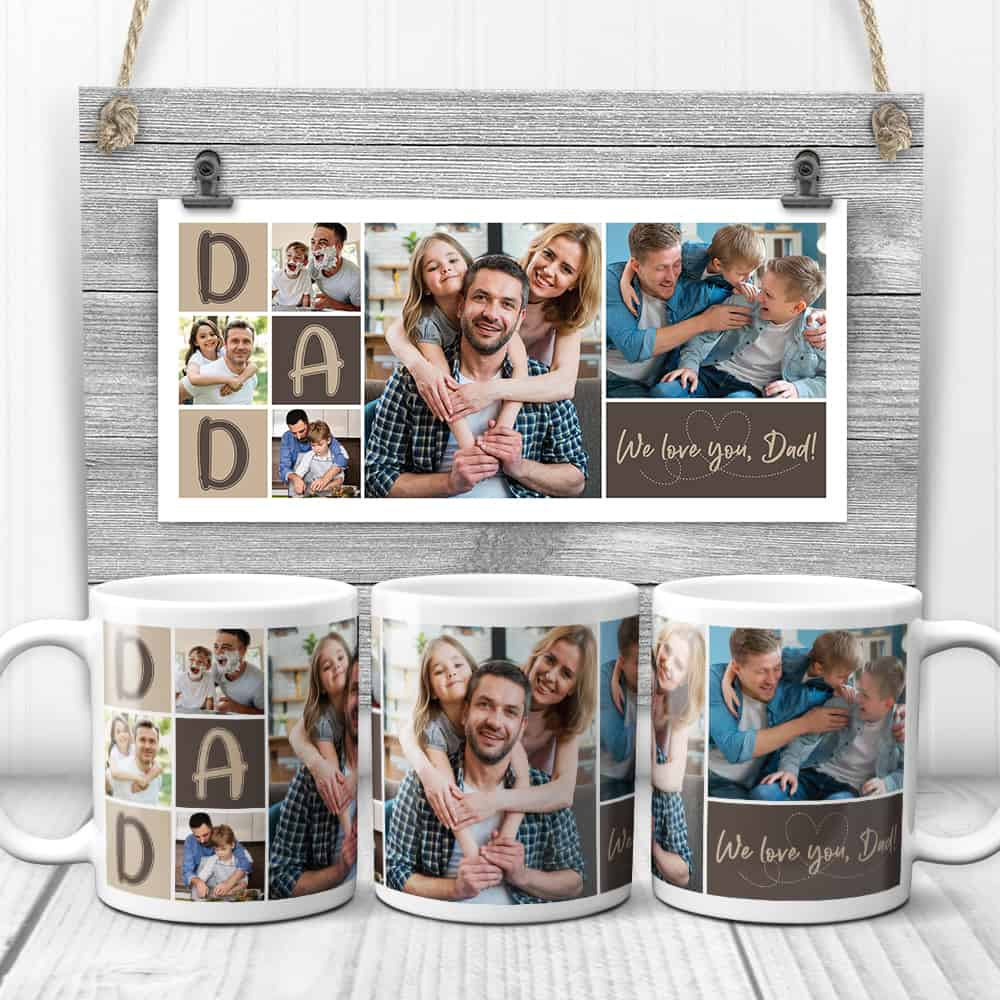 gifts for hard to buy for dad: photo collage mug