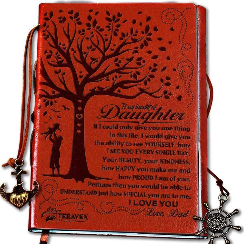 Dad To Daughter Gifts with Inspirational Quotes - Retro Tree of Life Faux Leather Cover Writing Journal