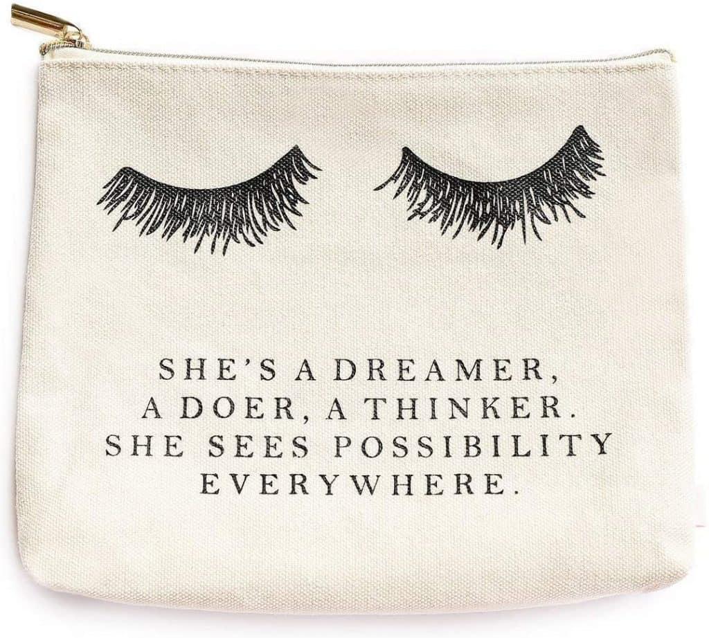 Eyelash She's A Dreamer Cotton Canvas Makeup Bag | Inspirational Motivational Gift for Her
