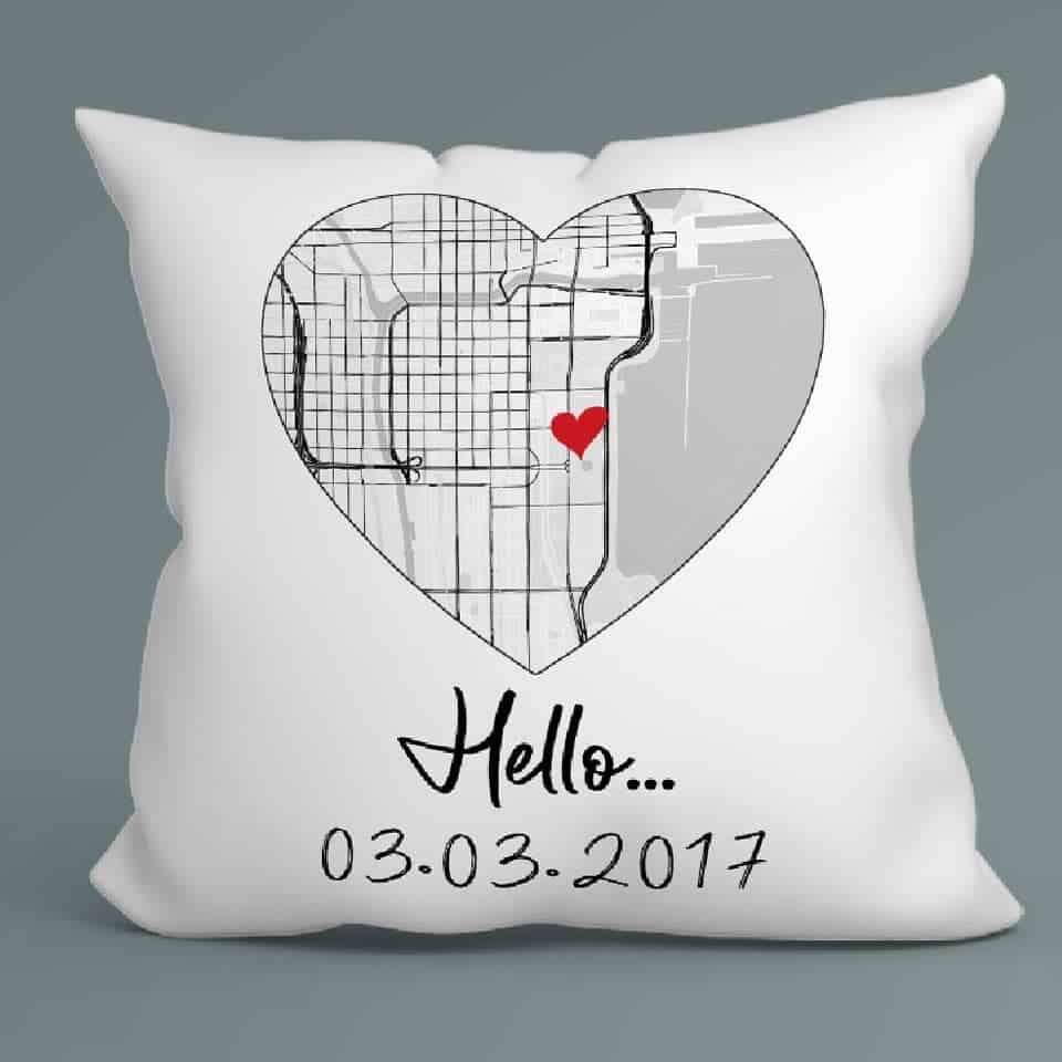 Hello Will You I Do Custom Map Pillow - gift ideas for new boyfriend