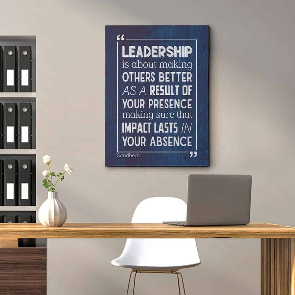 Leadership Is About Making Others Better Inspirational Leadership Canvas Print