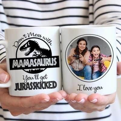 gag gifts for mom - Mamasaurus Custom Photo Mug