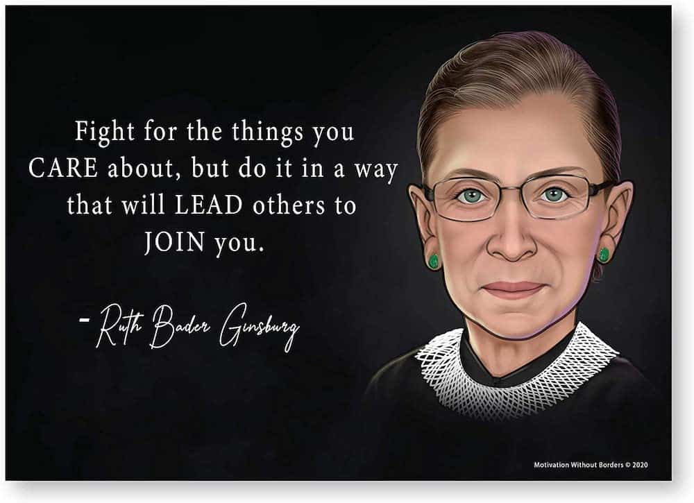 Ruth Bader Ginsburg Poster With An Inspirational Quote
