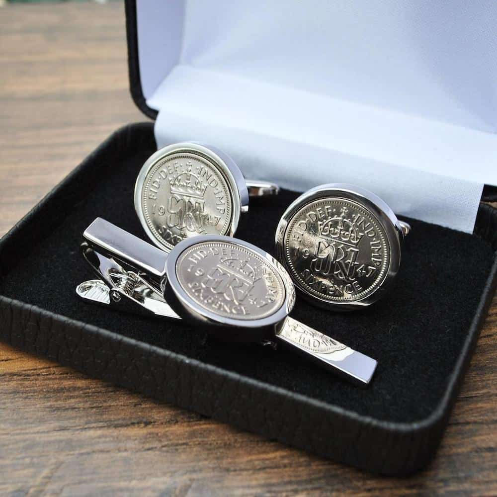 Sixpence Coin Cufflinks and Tie Clip Birthday Gifts For Dad