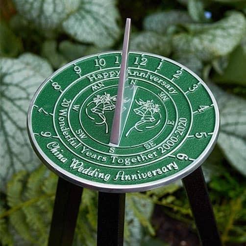 Personalized 20th China Wedding Anniversary Large Sundial
