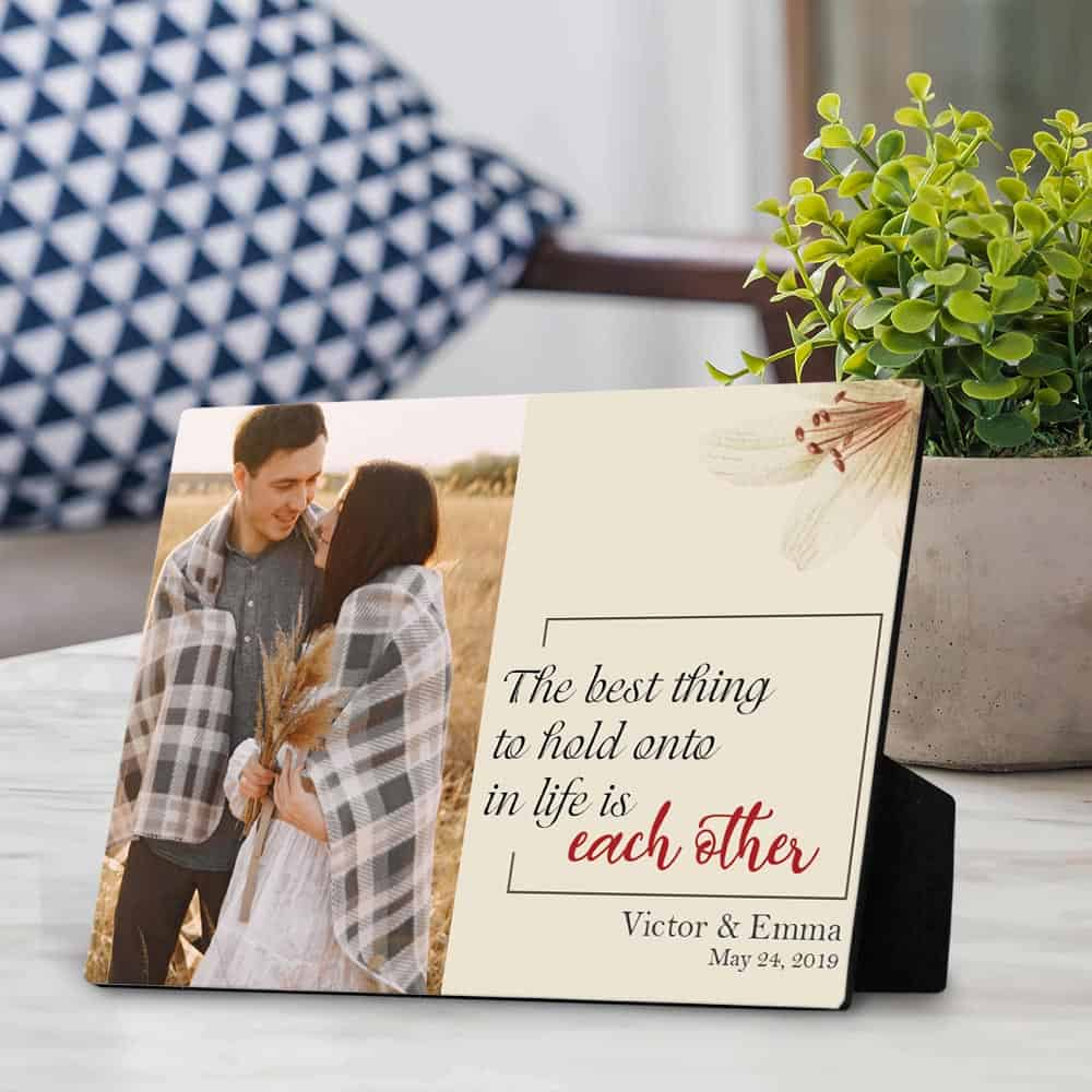 personalized anniversary gifts: custom desktop plaque