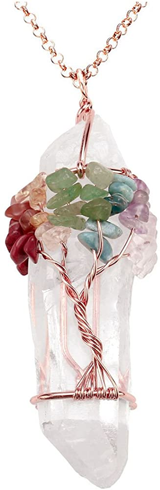Tree of Life Healing Crystal Necklace Mother's Day Gift For Wife