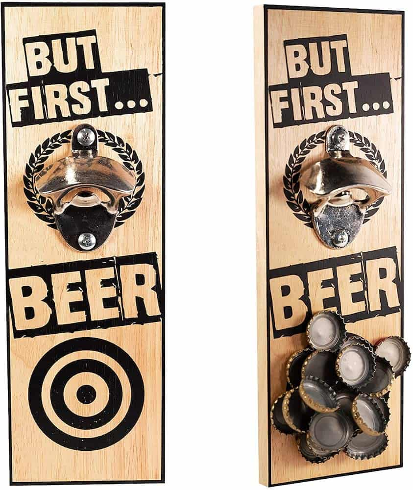 Wall-mounted Bottle Opener With Magnetic Cap Catcher