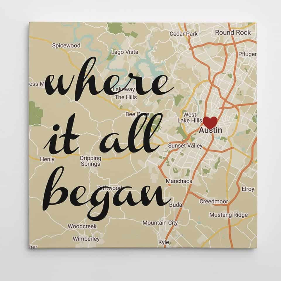 Where It All Began Map Canvas Print  - things to get your new boyfriend