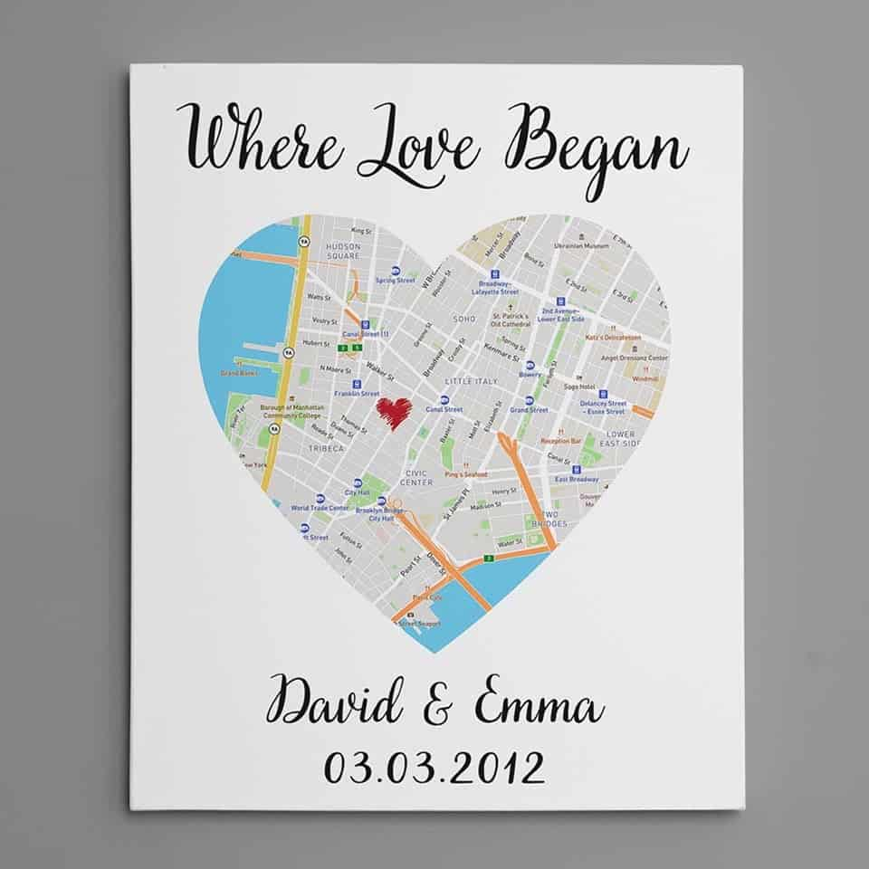 Where Love Began Map Art Canvas Print