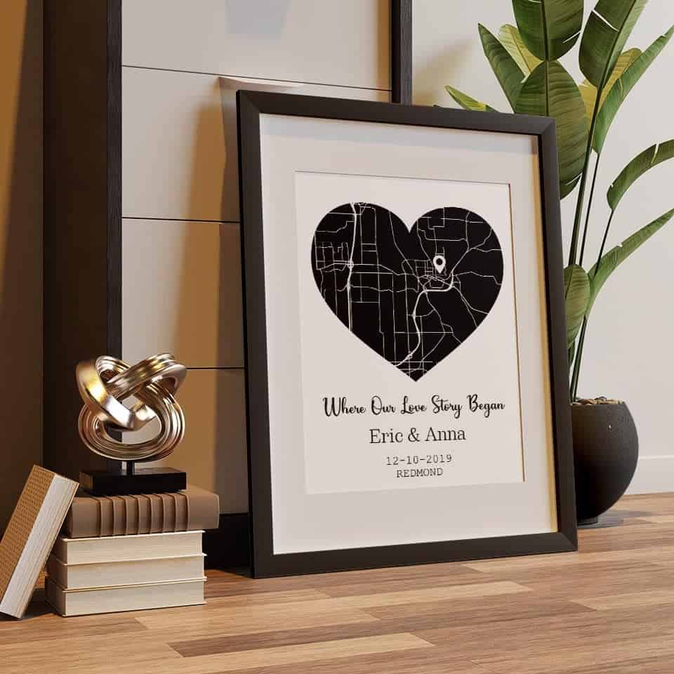 Where Our Love Story Began Map Framed Print - things to get your new boyfriend