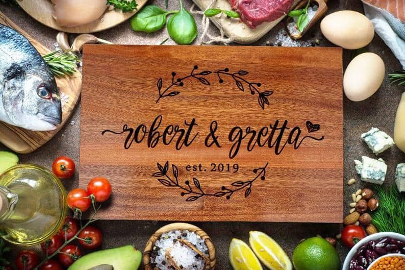 parents anniversary gifts ideas: custom cutting board