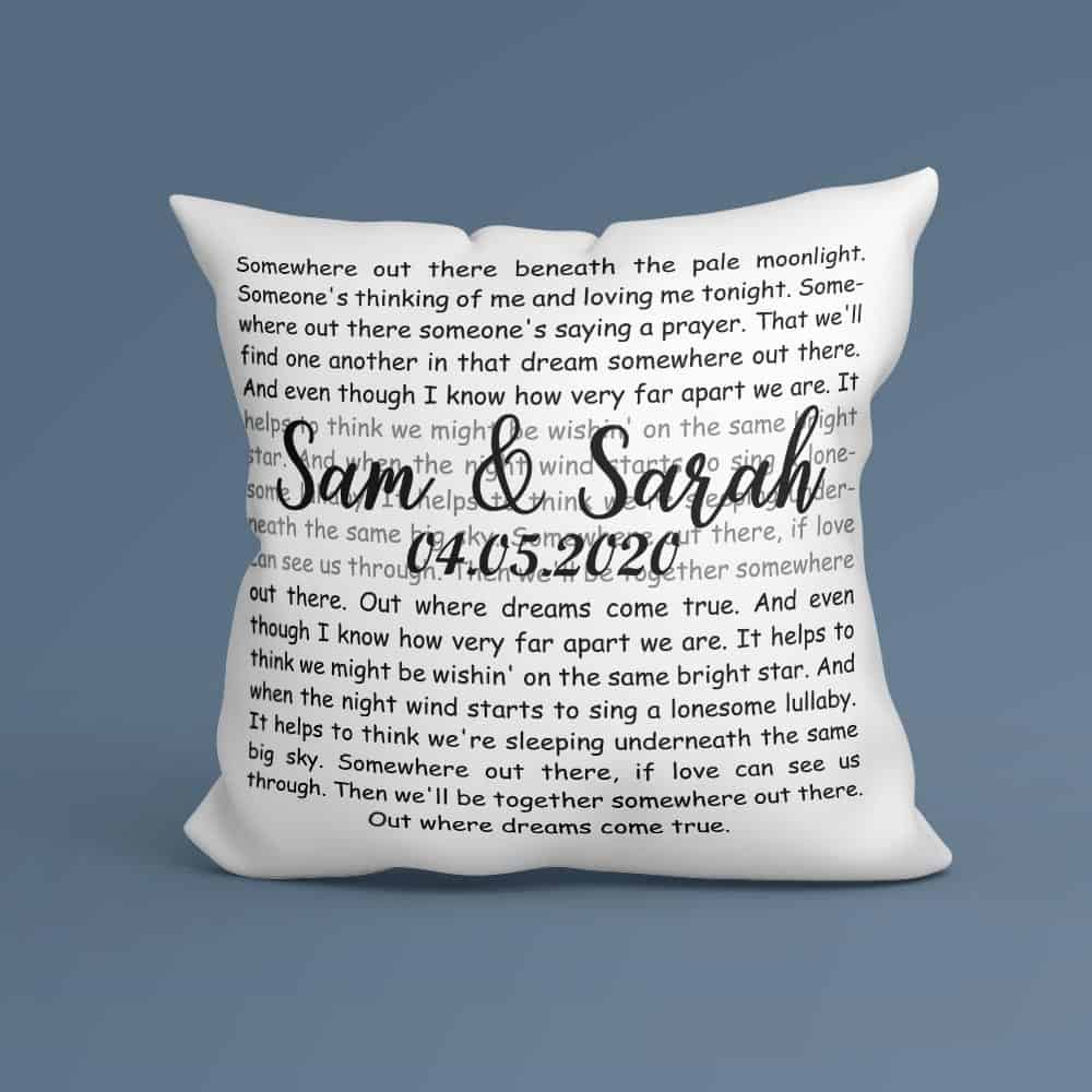 wedding anniversary gift ideas: custom name and song lyrics pillow