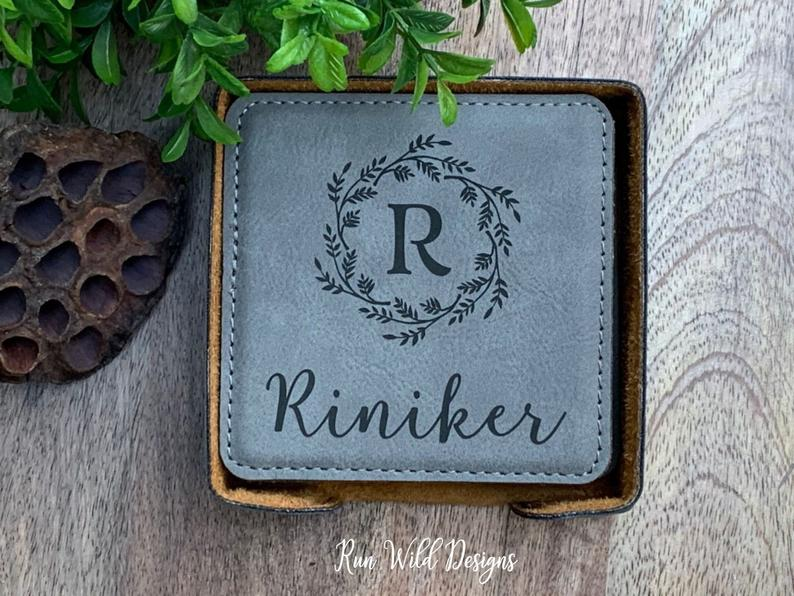 engravable anniversary gifts: engraved leather coaster set