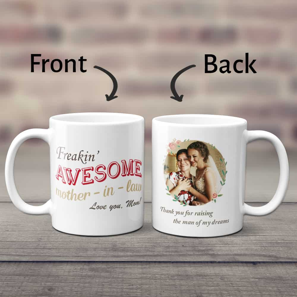 Freakin' Awesome Mother In Law Custom Photo Coffee Mug