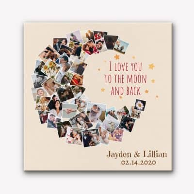 I Love You To The Moon and Back Photo Collage Canvas Print
