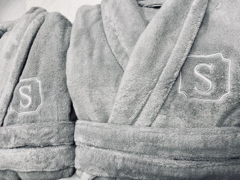 custom anniversary gifts: monogrammed plush robe