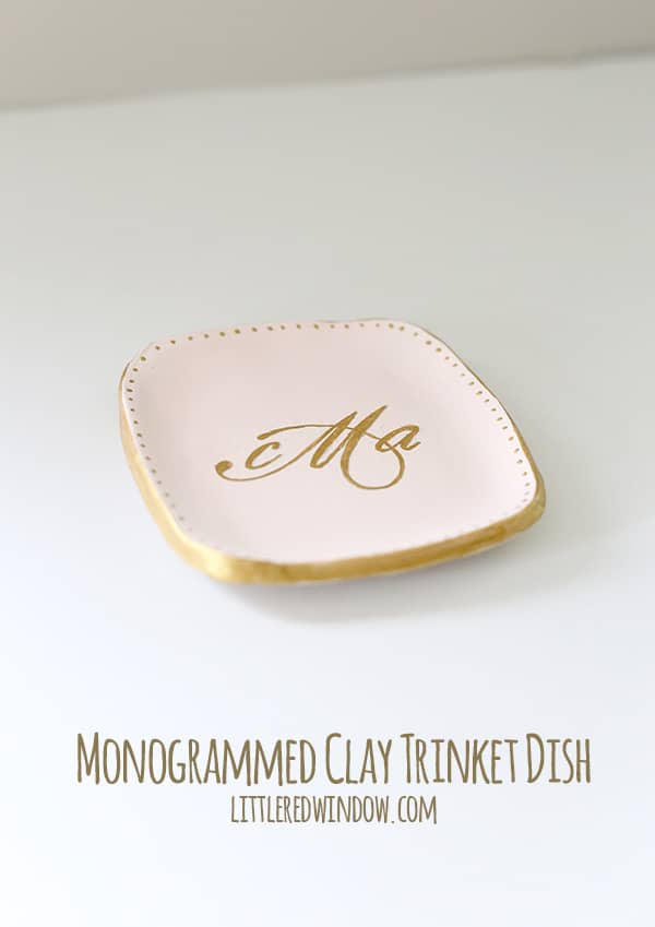 diy mothers day gifts: monogrammed clay trinket dish