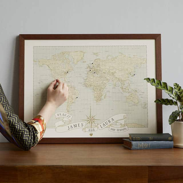 anniversary gifts for parents: personalized anniversary push pin map