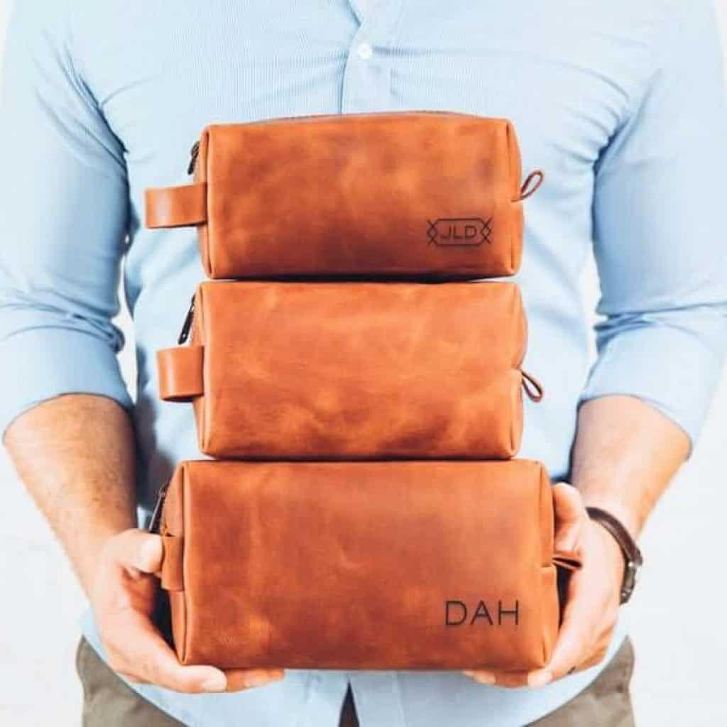 last minute anniversary gifts for him: personalized leather dopp kit