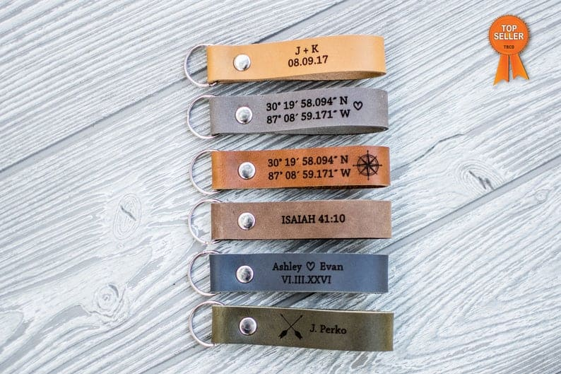 gifts for the hard to buy for man: personalized leather keychain