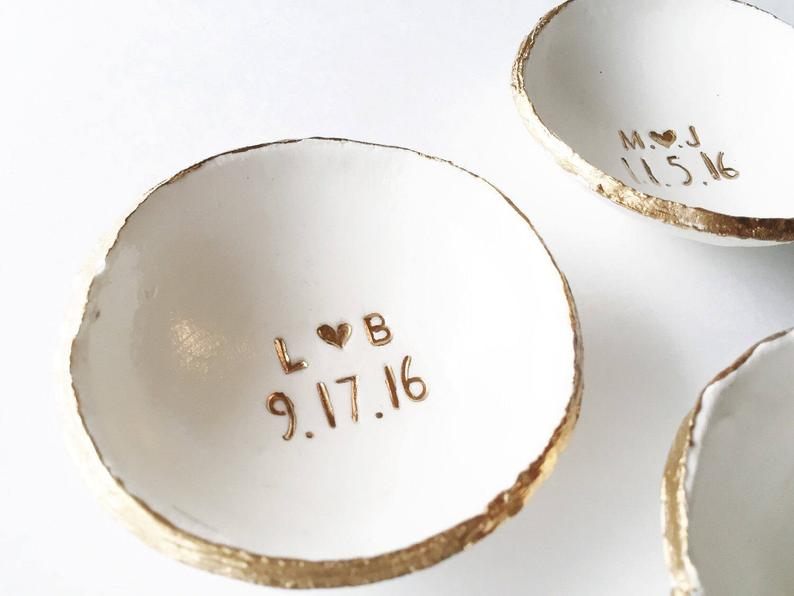 personalized wedding anniversary gift: custom ring dish