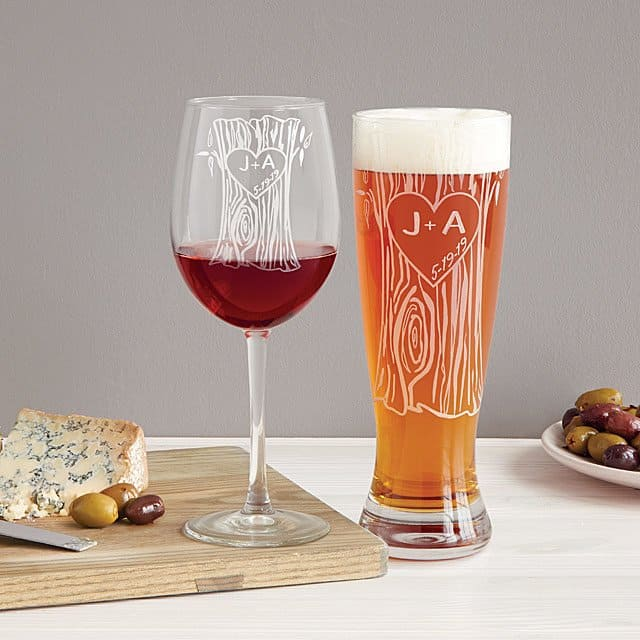 engraved anniversary gifts: personalized tree trunk glassware duo