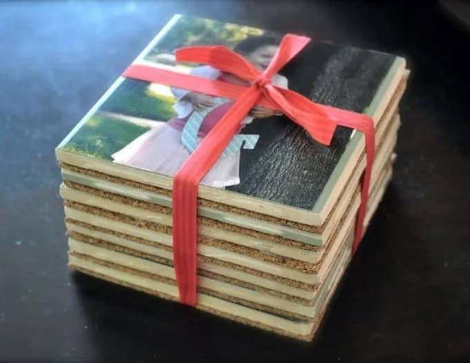 diy mothers day gifts: photo coasters