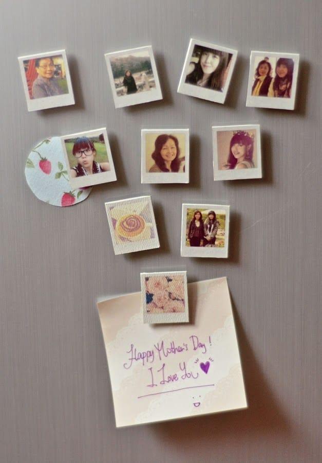 mother day gift ideas handmade: polaroid photo magnets