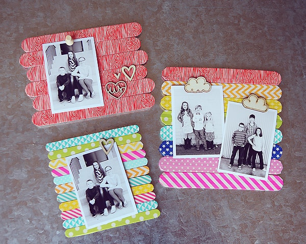 creative homemade mothers day gift: popsicle stick photo frame