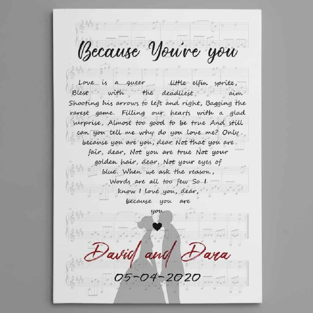 anniversary gifts for friend: song lyrics canvas print