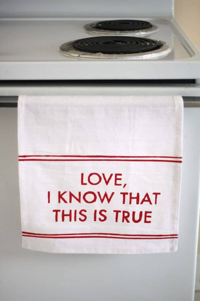 mothers day handmade gifts: stenciled tea towel