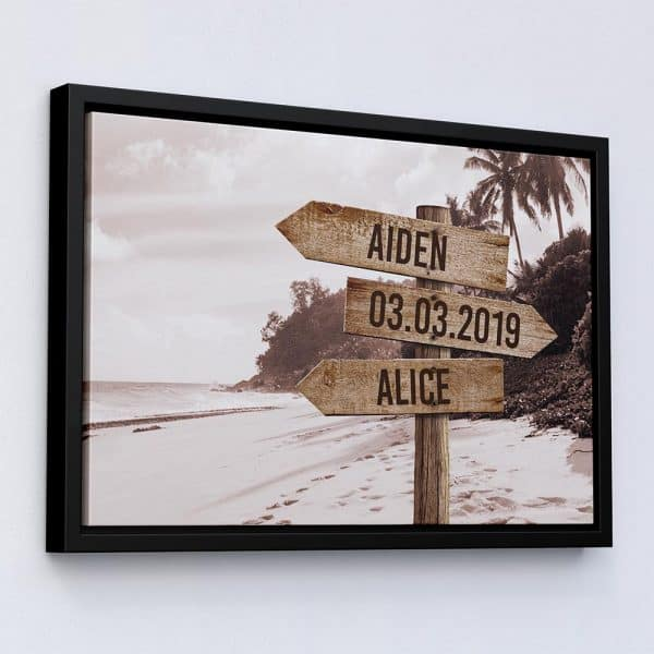 personalized anniversary gift ideas: street sign canvas art beach style