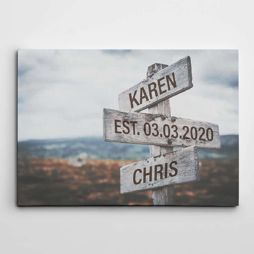 anniversary gift ideas: street sign custom canvas print