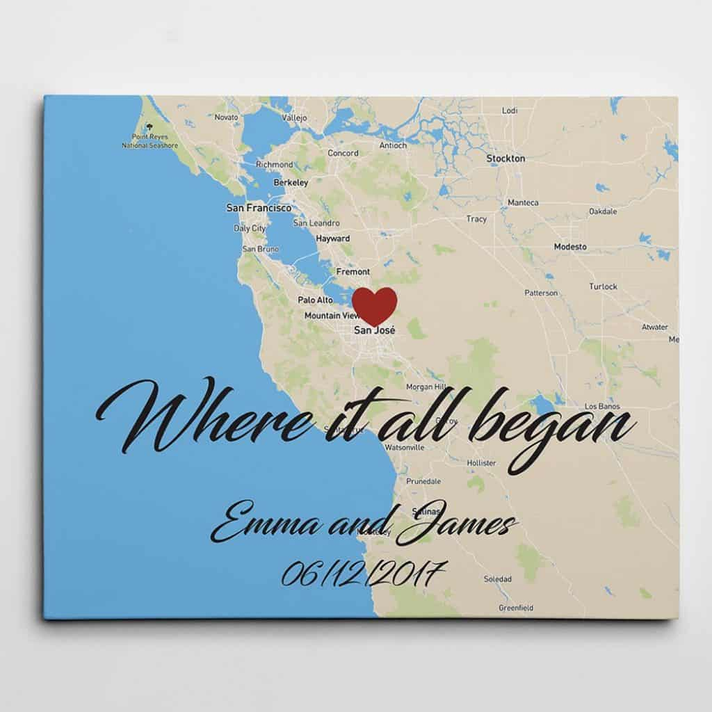 gifts for the impossible man: custom map wall art canvas print