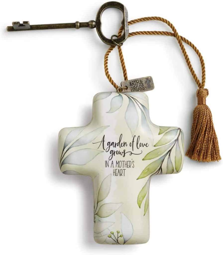 """A Garden of Love Grows In A Mother's Heart"" Cross Figurine"