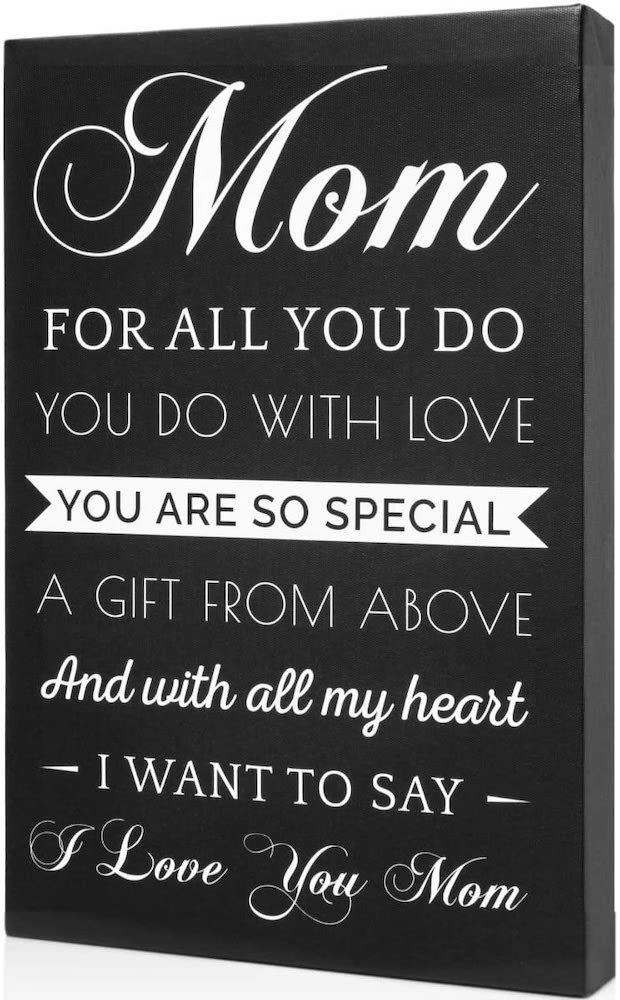 """Mom, For All You Do You Do With Love"" Hangable Canvas Gift For Religious Moms"