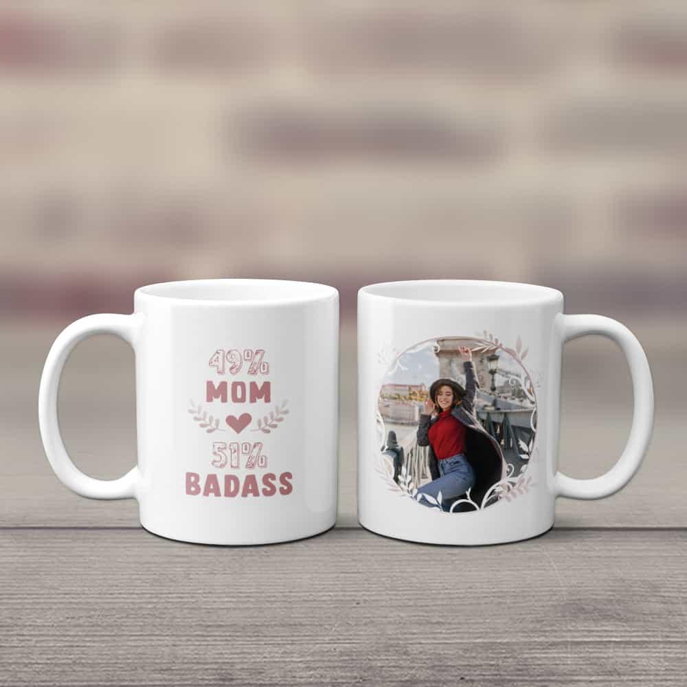 badass mom custom photo coffee mug