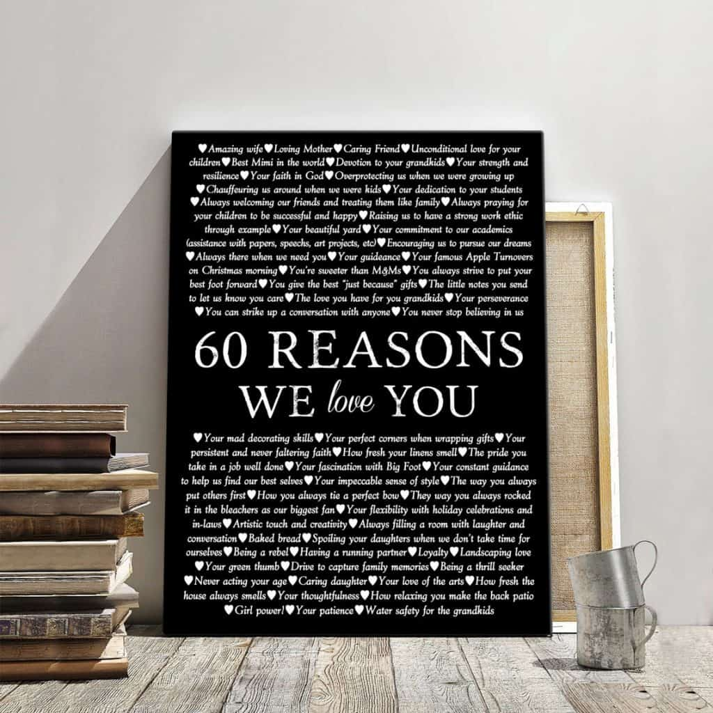 60 Reasons We Love You Canvas Print gift for mom 60th birthday
