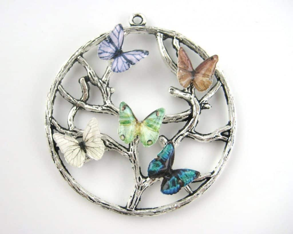 Butterfly Birthstone With Family Tree Necklace Birthday Gift For Women Mom